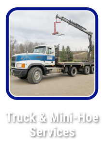 Click to learn about concrete Truck and Mini-Hoe services by Hortons Concrete