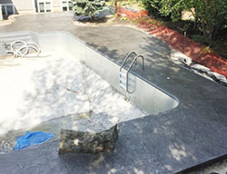 Hortons Concrete inground pool decks with stamped and stained colour choices.
