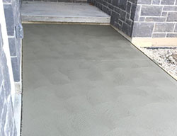 brushed concrete home entrance.