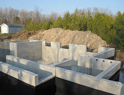 New home construction foundations in Owen Sound, Chatsworth, Durham areas